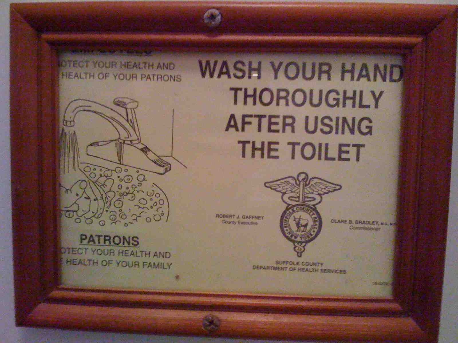 Amagansett, NY - Clam Bar - WASH YOUR HAND THOROUGHLY AFTER USING THE TOILET