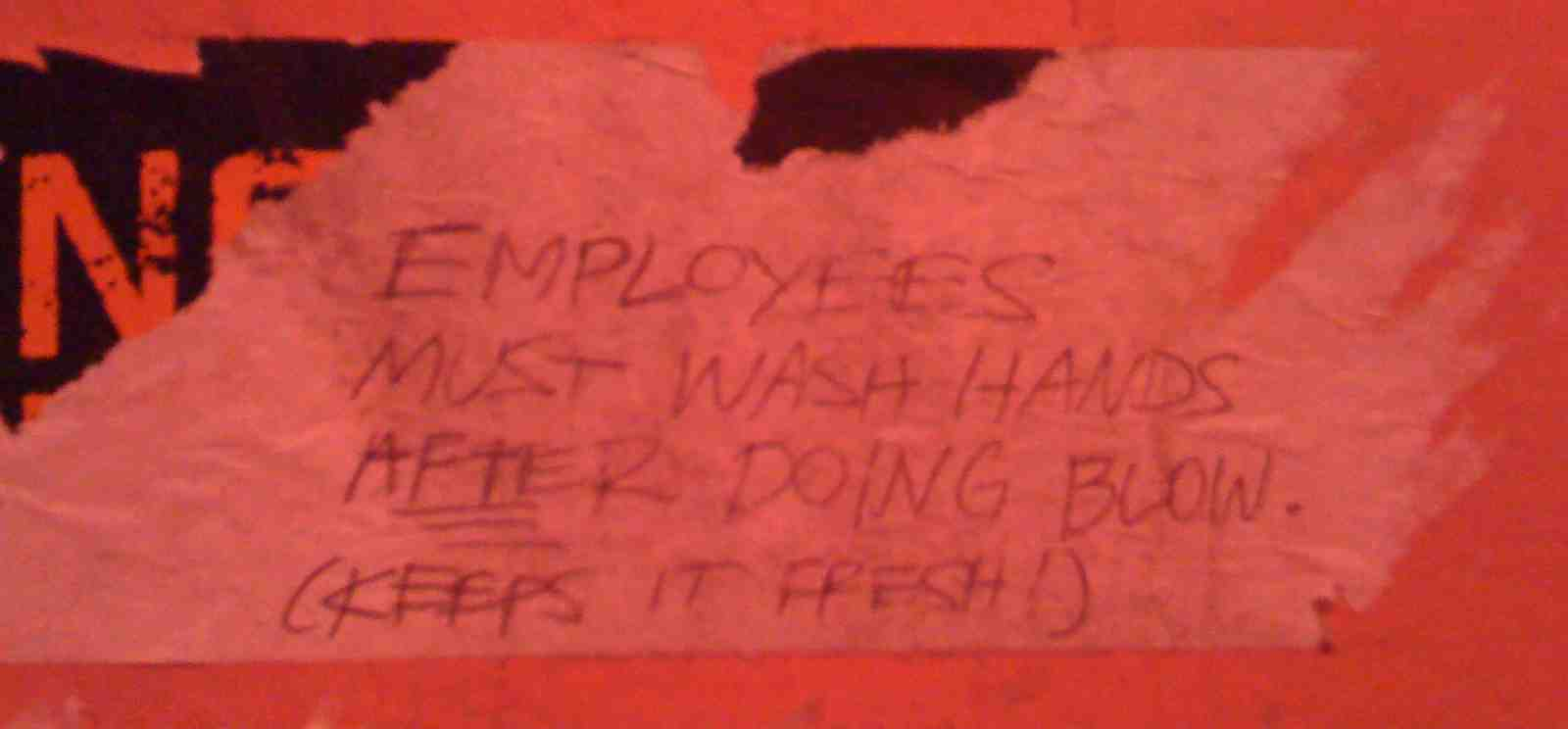 NYC - Fontana's - Employees Must Wash Hands Before Doing Blow, Keeps it Fresh