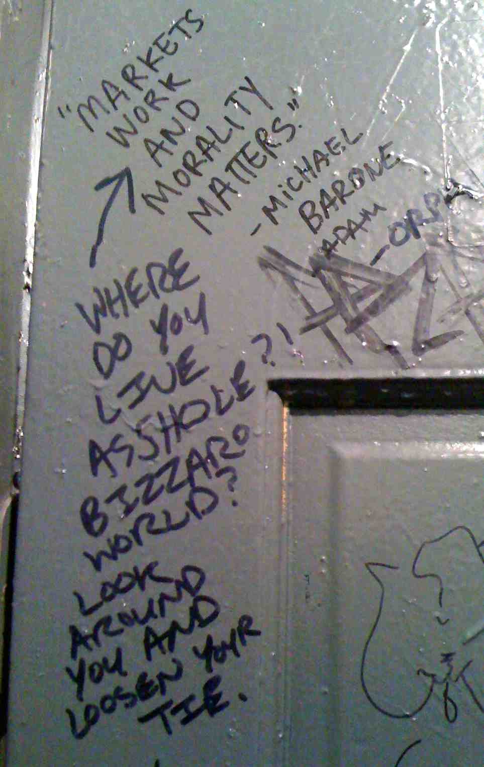 NYC - Vazacs Horseshoe Bar - A: Markets work and morality matters - Michael Barone B: Where do you live asshole? Bizzaro World? Look around you and loosen your tie. title=