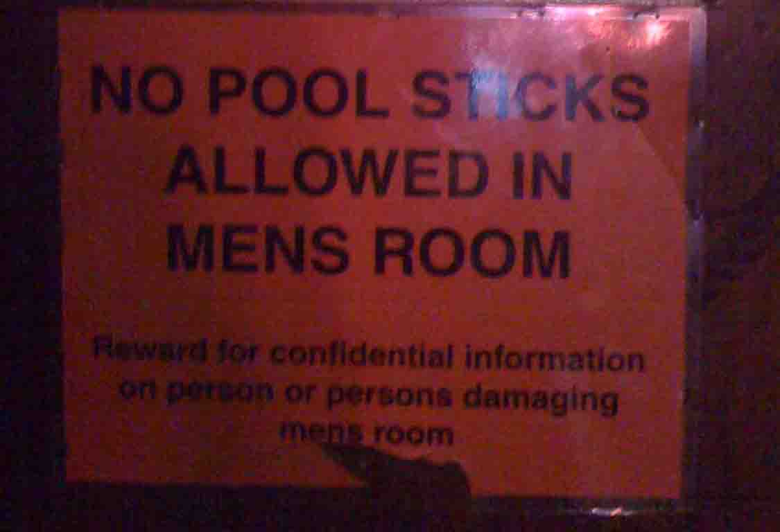 Neptune Beach, FL - Pete's Bar - No Pool Sticks Allowed in Mens Room