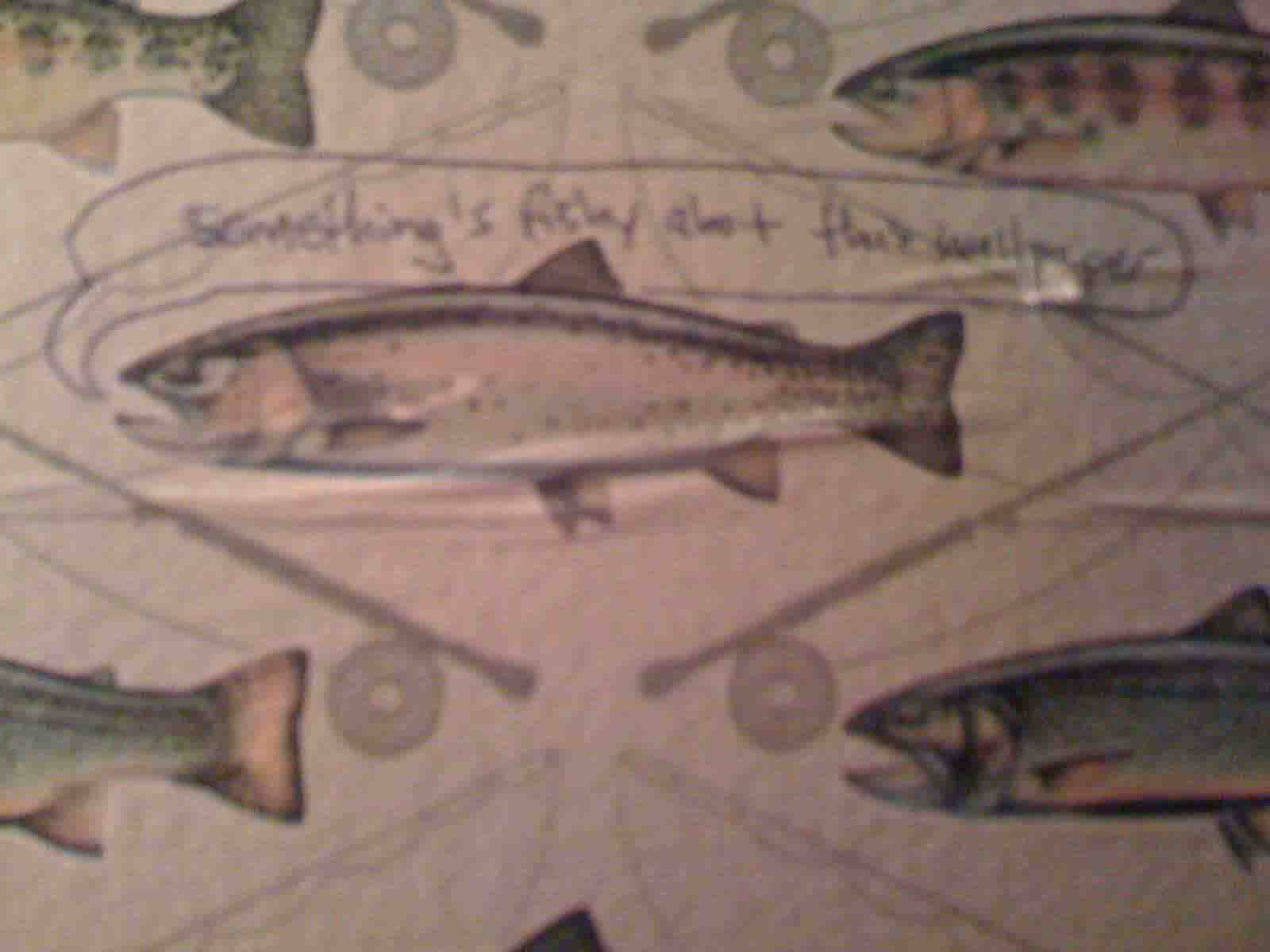 NYC - The Spotted Pig - something's fishy about this wallpaper